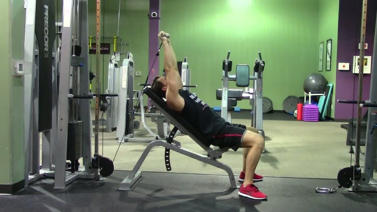 Cable French Press HASfit Triceps Exercise Demonstration Tricep